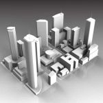 Very low-polygon model of a city; divided into 9 e...