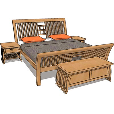 Set consist of, queen size bed frame, 2 bed side t....