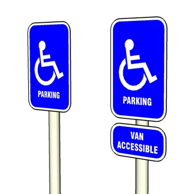 ADA requires signs identifying parking stalls for ....