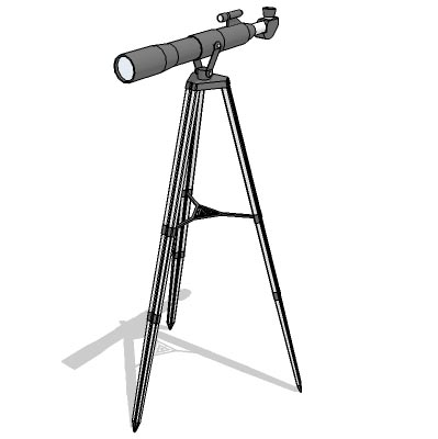 A generic telescope with tripod stand.