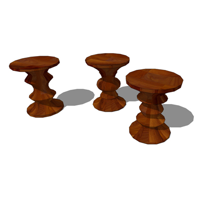 A, B and C type Eames Walnut Stools by Herman Mill....