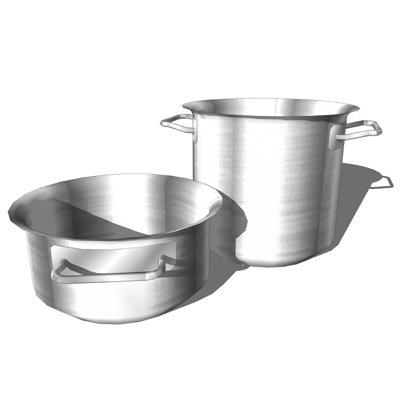 Stainless steel pots to decorate the kitchen..