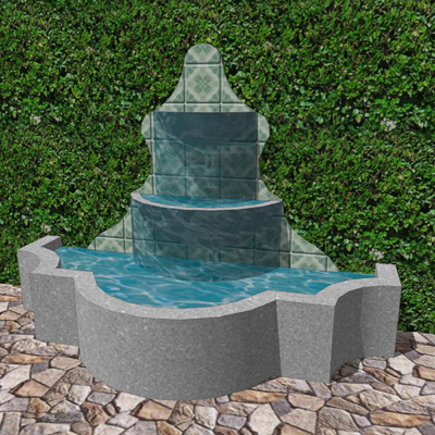 A decorative fountain for patios in colonial or sp....