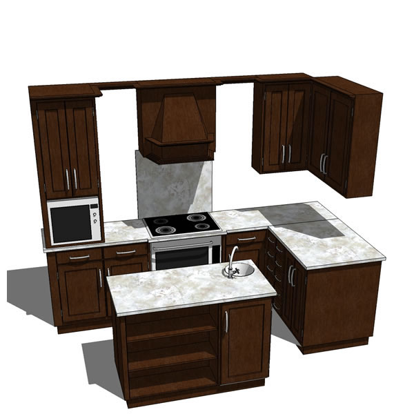 Complete kitchen with oven and microwave and separ....