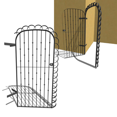 A wrought iron door that can be used to access a c....