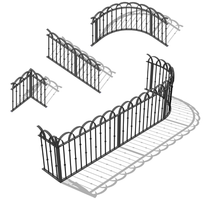 Wrought iron railing set to place around a yard or....