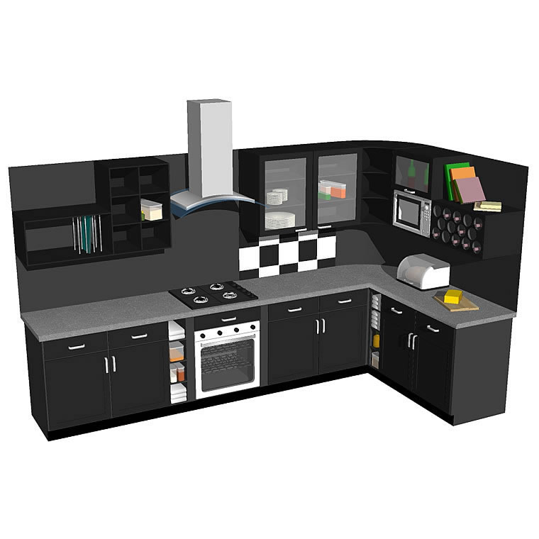 Kitchen model in modern style with many added deta....