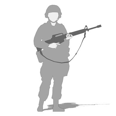 Military figure in battledress, carrying M16..