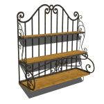 A wood and wrought iron decorative shelf that can ...