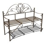 Spanish style wrought iron bench with a rustic fin...