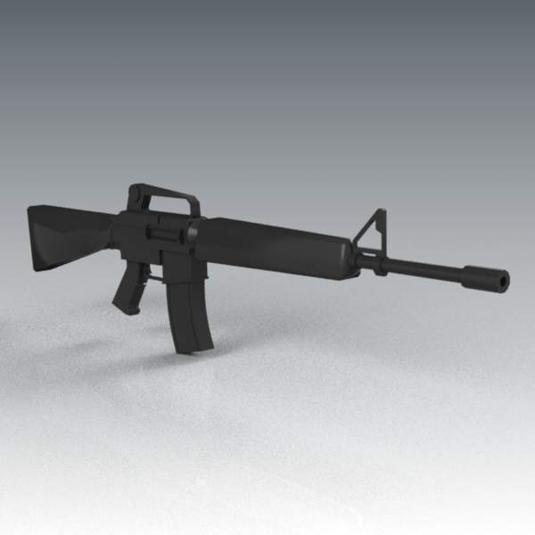 Medium poly M16A2 assault rifle.