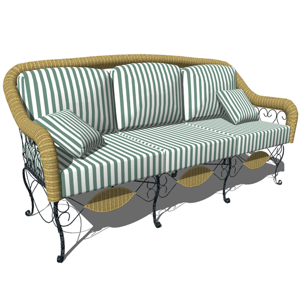Wrought iron and wicker sofa for 3 people. Can be ....