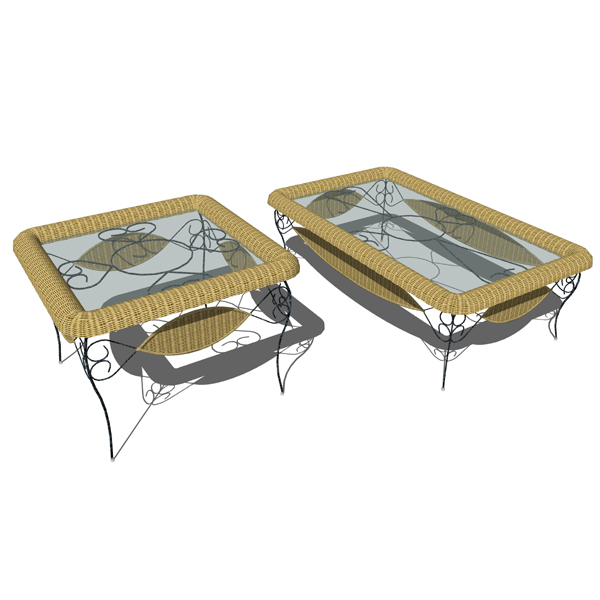 Wrought iron and wicker tables. Model includes cof....