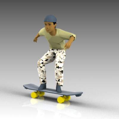 Teenager on skateboard.
