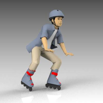 Teenager on rollerblades.