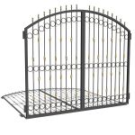 Iron gate with wrought iron decoration. They can b...