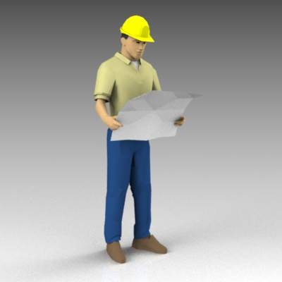 Man with hardhat and plans.