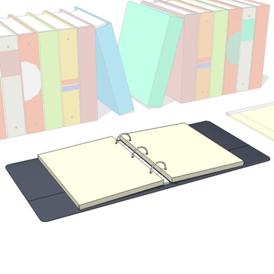 Binders/Books on Shelf, Open 3-Ring Binder, Pen on....