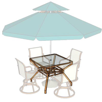 Garden table set c/w umbrella.