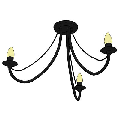Simple wrought iron effect ceiling light with thre....