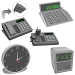 Office Desktop equipment set. Includes a Phone wit...