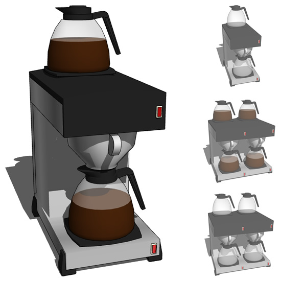 Commercial type coffeemachine in single and twin v....
