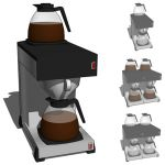 Commercial type coffeemachine in single and twin v...