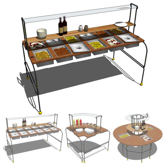 Buffet table set. Configurations include long tabl....