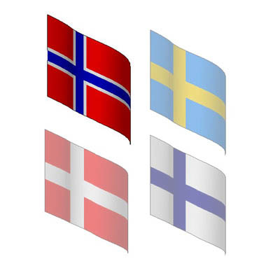 The flags of Scandinavia.