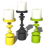 Decorative candleholders with candles. The model c...