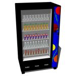 Low-poly vending machine with drinks.