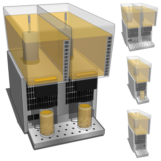 Lemonade dispenser in different configurations wit....