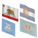 The state flags of California, Colorado, Connectic...