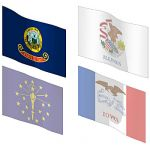 The state flags of Idaho, Illinois, Indiana and Io...