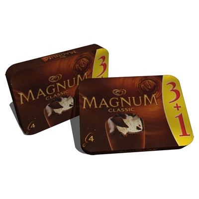 Magnum ice retail packages in two configurations, ....