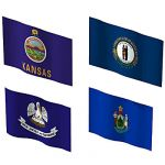 The state flags Of Kansas, Kentucky, Louisiana and...