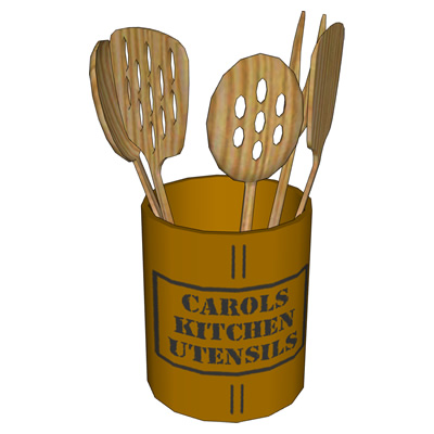 Kitchen utensils in four configurations, including....