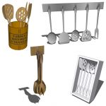 Kitchen utensils in four configurations, including...