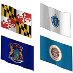 State flags of Maryland, Massachusetts, Michigan a...
