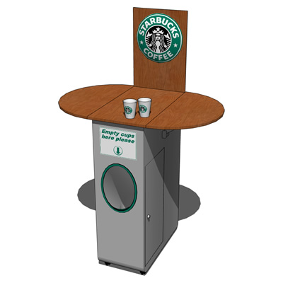 Portable coffee cart with Starbucks decoration. Ea....