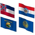 The state flags of Mississippi, Missouri, Montana ...