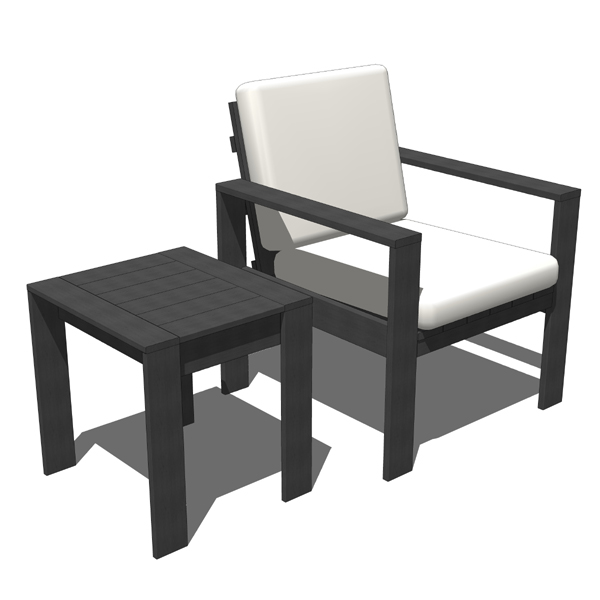 Outdoor chair with matching side table..