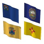 The state flags of Nevada, New Hampshire, New Jers...