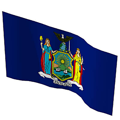 The state flags of New York, North Carolina, North....