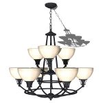 Kichler 9 light classic chandelier shown in black.