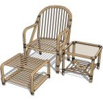 Cane armchair set, for both indoor and outdoor
