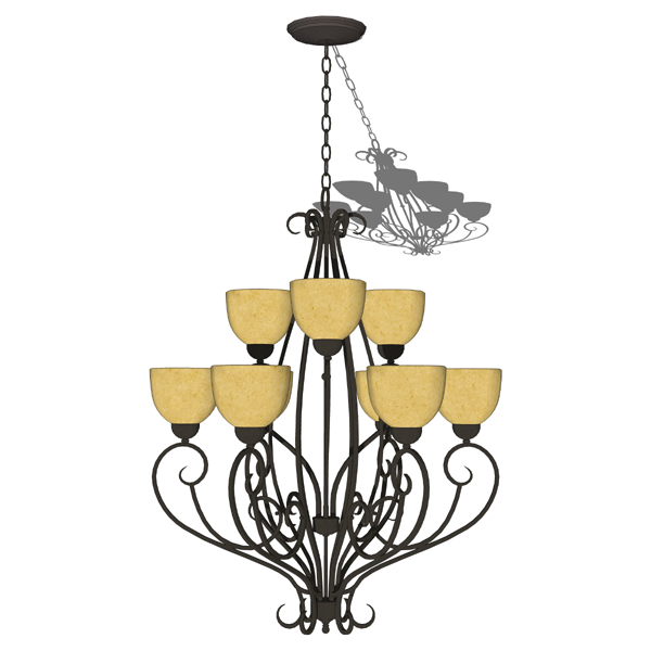 Canyon Ridge rustic iron 9-light chandelier by Hin....