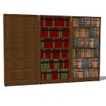 Selection of simple wooden bookcases, with and wit...