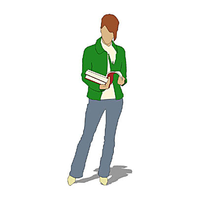 Girl holding a pile of textbooks and reading one.