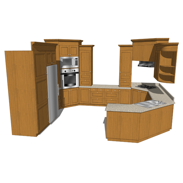 Kitchen set with embedded appliances. Note: Textur....